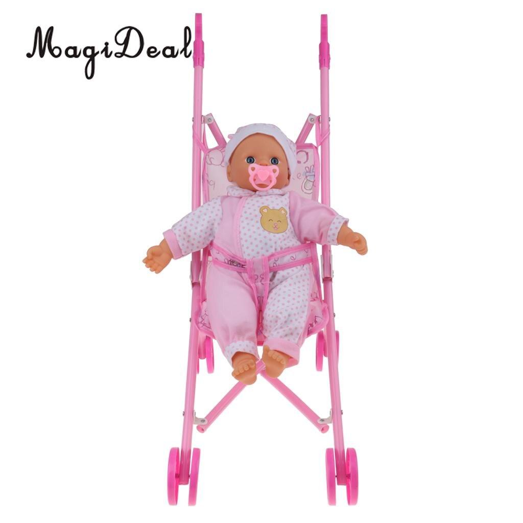 Flight Tracker Realistische Baby Pop Fopspeen Roze Simulatie Trolley Kinderwagen Meubels Kinderen Speelgoed Voor Kinderkamer Decoratie Zacht En Antislippery