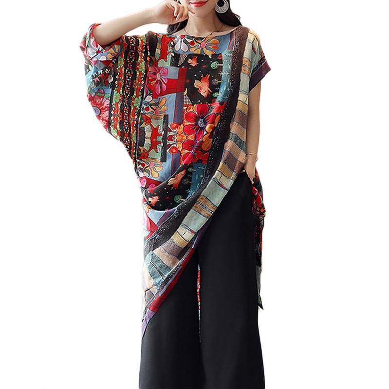 Women Vintage Blouse Irregular Floral Print Long Top Short Sleeve Round Neck Loose Asymmetry Top Bow Plus Size Summer Shirts
