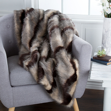 Gentil Lavish Home Luxury Long Haired Striped Faux Fur