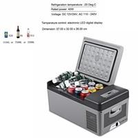 15L Car Fridge 40W 12V/24V Car Home Refrigerator Dual use Led Vehicle Freezer Cooling 20 Deg.C for Party Travel Picnic EU Plug