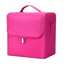 Professional Organizer Nail Art Nylon Box Makeup Bag Vanity Case Cosmetics Portable Zipper With Carry Strap Storage Multilayer недорого