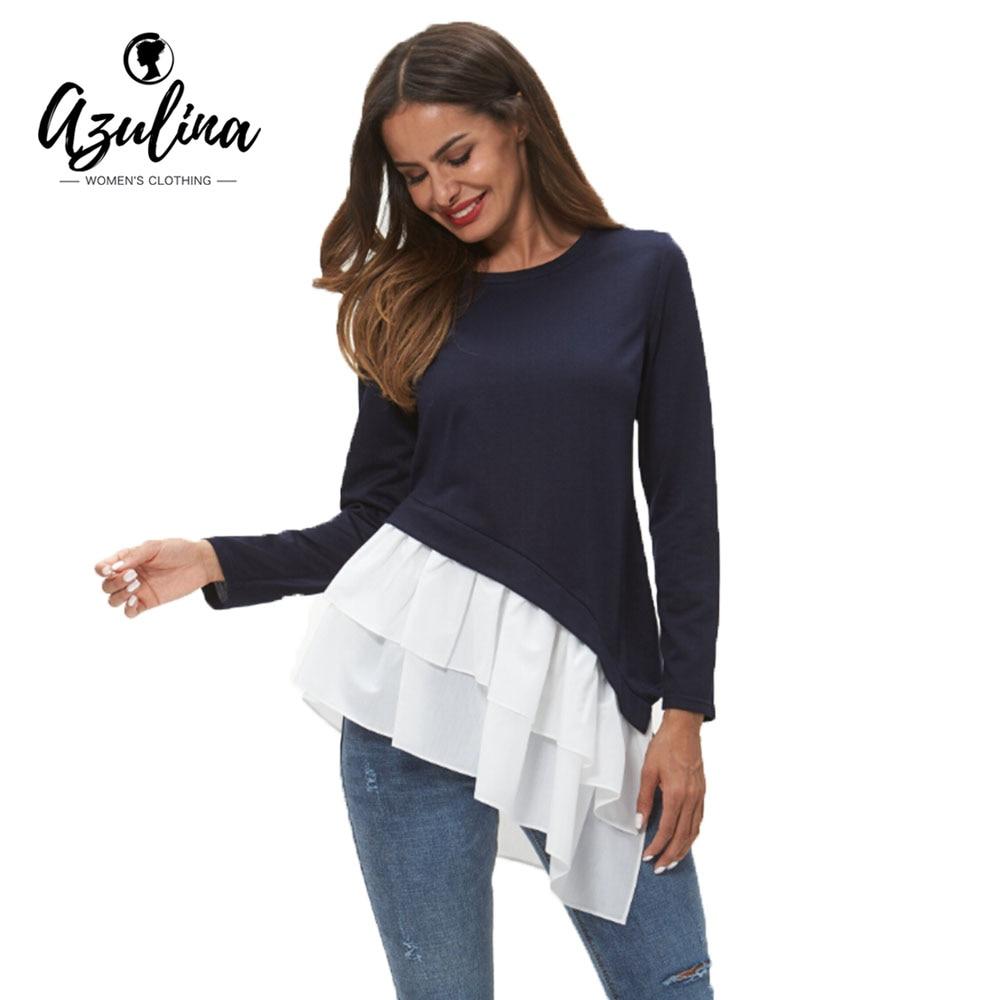 AZULINA Flounced Hem Asymmetrical   Blouse   Women Clothing Fall O Neck Long Sleeve Patchwork Long   Blouses     Shirts   Female Tops Blusas