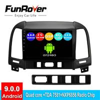 FUNROVER android 9.0 2.5D+IPS car radio multimedia player For Hyundai Santa Fe 2005 2012 dvd gps navigation navi stereo DSP RDS