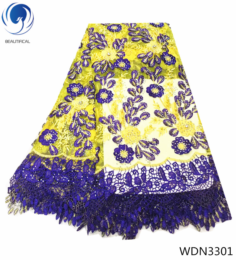 Beautifical guipure cord lace fabrics with rhinestones african lace fabrics with beads french lace for women 5yards/lot WDN33