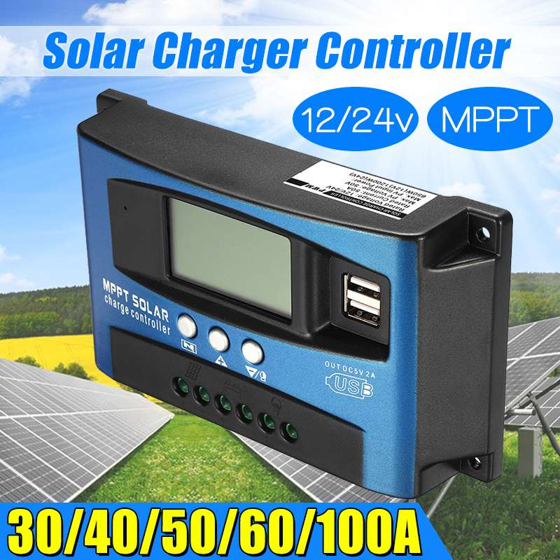 Dual USB MPPT 30/40/50/60/100A Solar Charge Controller LCD Display 12V 24V Auto Solar Cell Panel Charger Regulator with LoadDual USB MPPT 30/40/50/60/100A Solar Charge Controller LCD Display 12V 24V Auto Solar Cell Panel Charger Regulator with Load