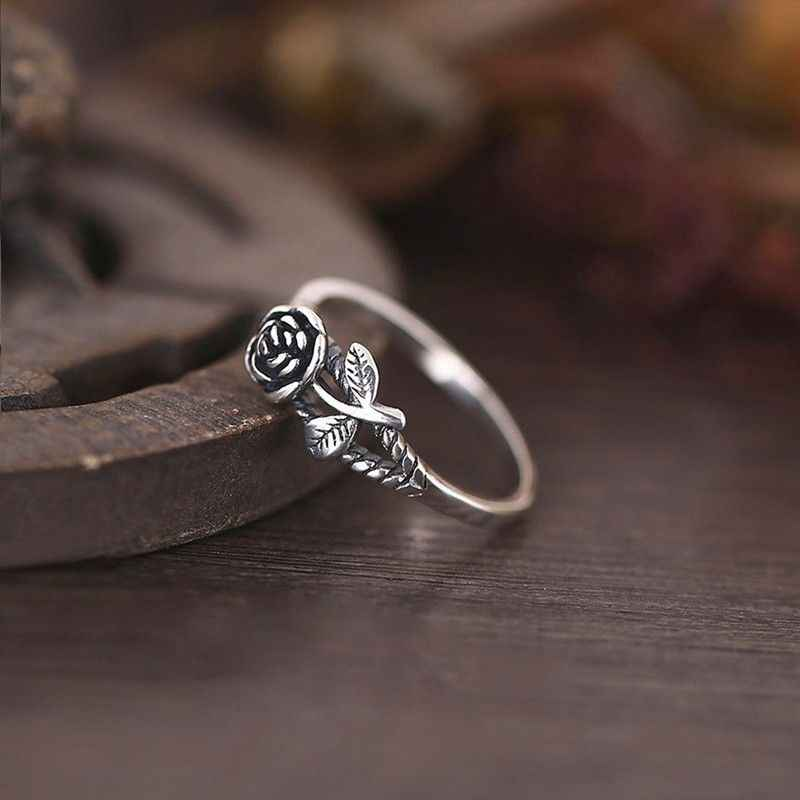 Vintage Rose Flower Engagement Wedding Ring 925 Silver Womens Jewelry Size 5-10