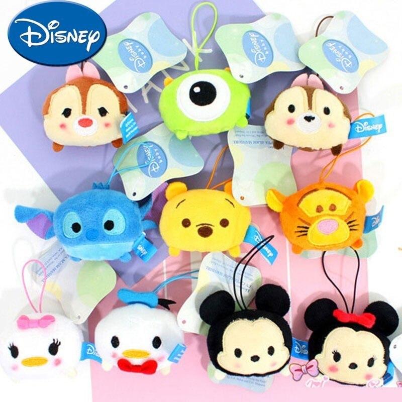 Disney Plush Keychain Mini Cartoon Pendant Doll Mickey Minnie Donald Daisy Pooh Stitch Michael Wazowski Cute Plush Doll(China)
