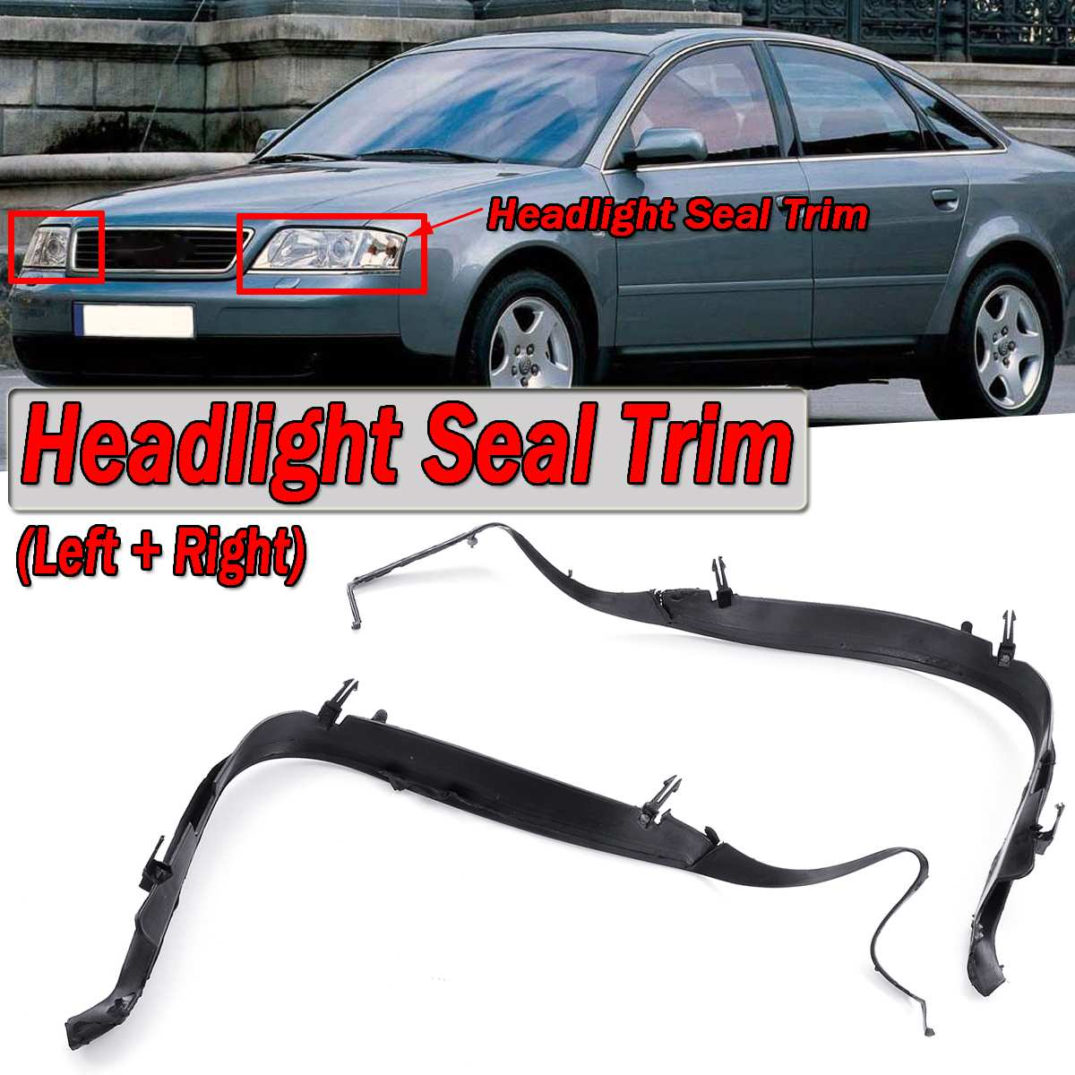 High Quality 2x Car Front Headlight Seal Cover Trim Ring For Audi A6 C5 2002-2005 Facelift 4B0941191A 4B0941192A