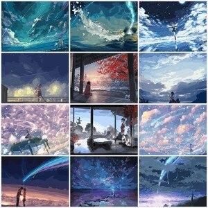 Image 1 - AZQSD DIY Ölgemälde Durch Zahlen Sky Mädchen Landschaft Färbung Durch Zahlen Landschaft Farbe Leinwand Bild Hand Gemalt SZYH A529