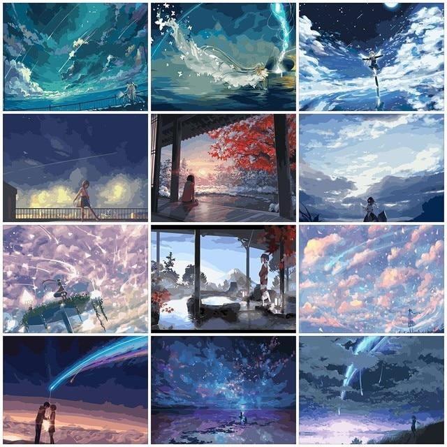 AZQSD DIY Ölgemälde Durch Zahlen Sky Mädchen Landschaft Färbung Durch Zahlen Landschaft Farbe Leinwand Bild Hand Gemalt SZYH A529