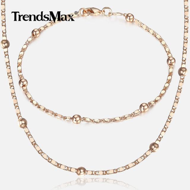 Mỏng 585 Tăng Vàng Trang Sức Đặt đối với Phụ Nữ Bến Du Thuyền Bead Liên Kết Chuỗi Vòng Tay Vòng Cổ Đặt Người Phụ Nữ Đảng Wedding Trang Sức Quà Tặng CS09