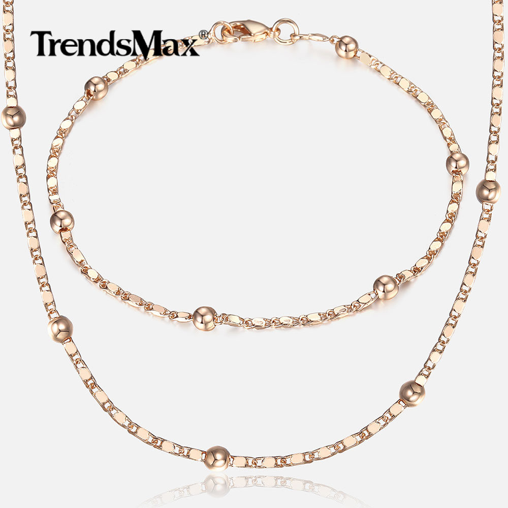 bc16c0a68f655 Thin 585 Rose Gold Jewelry Set for Women Marina Bead Link Chain Bracelet  Necklace Set Woman Party Wedding Jewelry Gifts CS09
