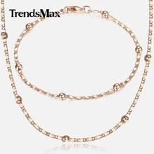 0b52e3ae2567 Conjunto de joyería fina de oro rosa 585 para mujer Marina con eslabones y  cadena