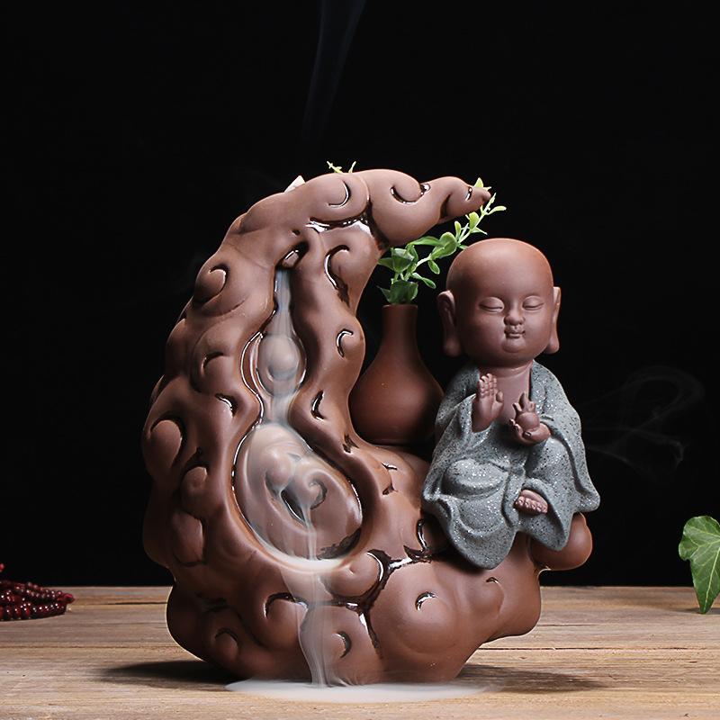 Petit moine Backflow brûleur d'encens fumée cascade porte-brûleur d'encens encensoir en céramique petit moine bâton aromathérapie four