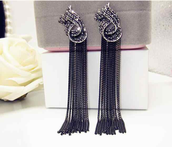 Luxury Rhinestone Vintage Tassel Earrings Drop Earring For Women Party Jewelry Black Chains Long Dangle Earrings