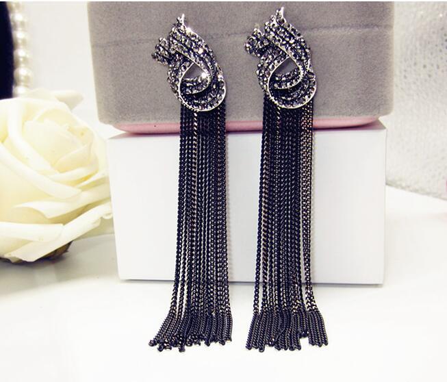 Luxury Rhinestone Vintage Tassel Earrings Drop Earring For Women Party Jewelry Black Chains Long Dangle Earrings