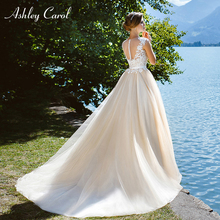 Ashley Carol A-Line Wedding Dress V-neck Court Train