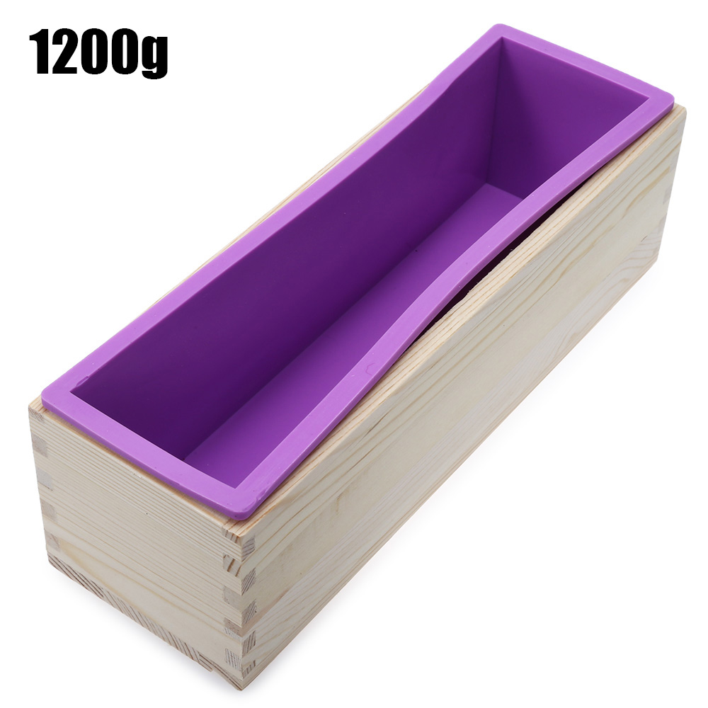 1200g Soap Loaf Mold Wooden Box DIY Making Tool Rectangle Silicone Soap Moulds Wooden Box