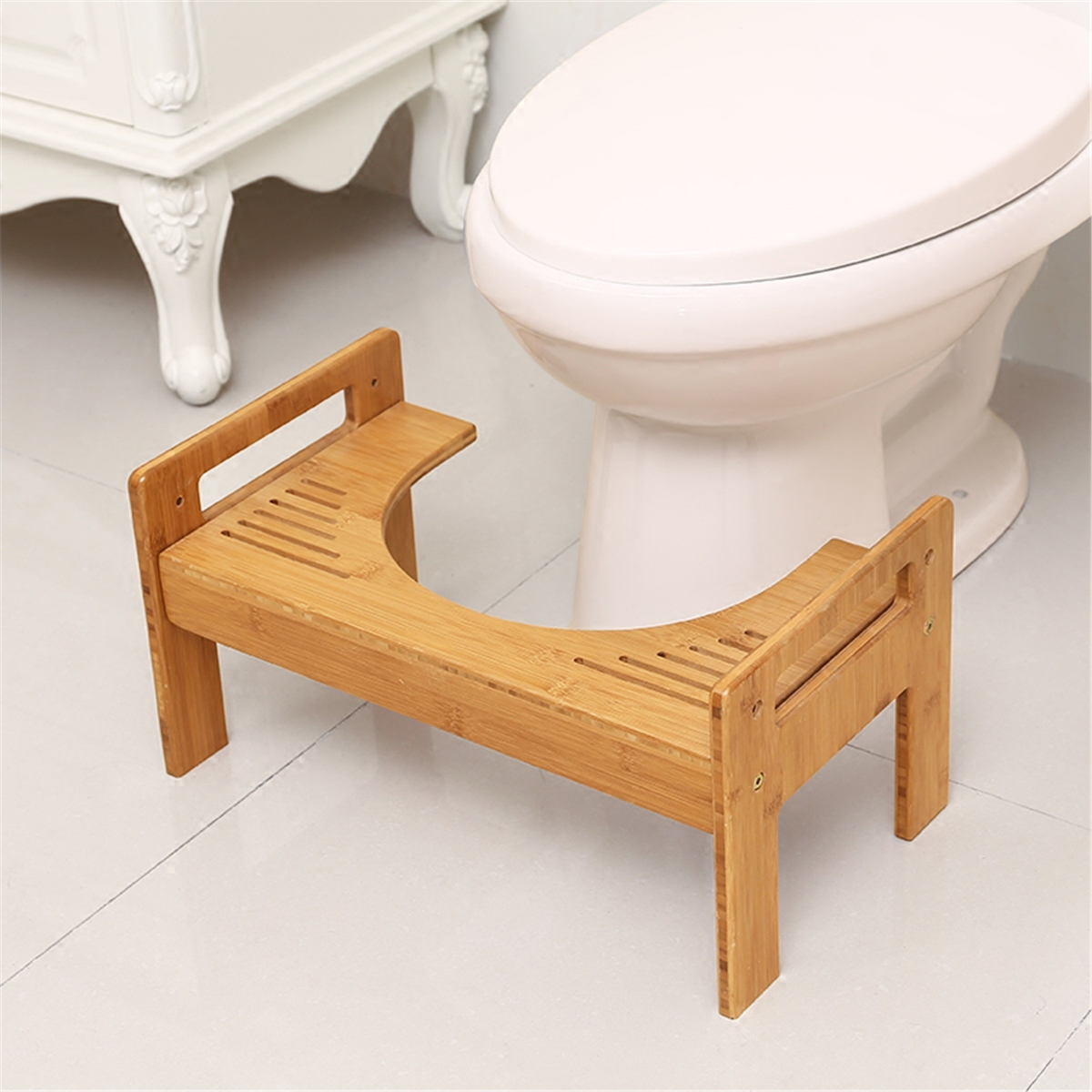 Wooden Thicken Round Toilet Foot Stool Home Crouch Hole