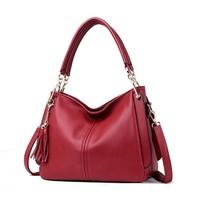 Kajie Designer Women Hangbags Cow Leather Shoulder Bags Ladies Solid Bags Female Large Tassel Tote Lady Casual Crossbody Bag