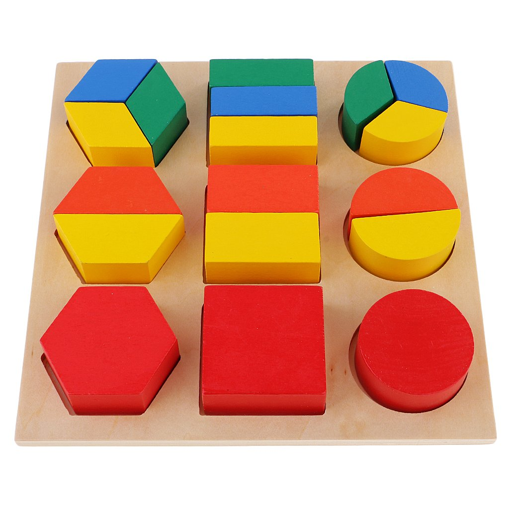 Wooden Geometric Blocks Puzzles Mathematics Fraction Montessori Educational Games Color Sensory Toys for Kids Children