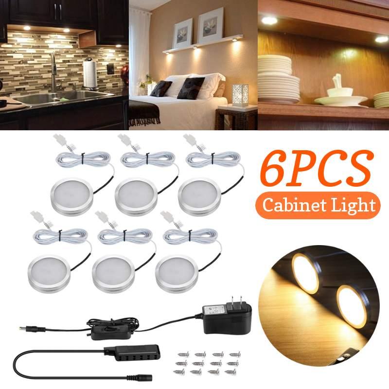 CLAITE 6 Pcs LED Under Cabinet Light DC12V 2W SMD2835 12Leds Warm White Thin Alluminum Light Lamp
