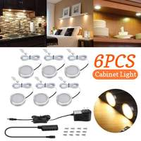 CLAITE 6 Pcs LED Under Cabinet Light DC12V 2W SMD2835 12Leds Warm White Thin Alluminum Light Lamp