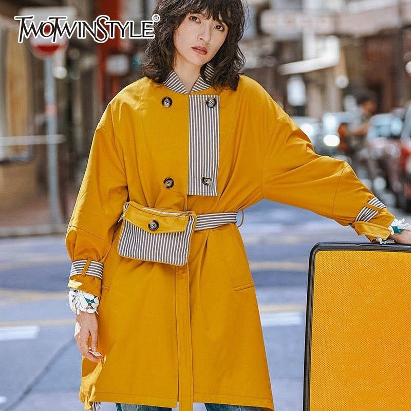 TWOTWINSTYLE Patchwork Women's Windbreaker Long Sleeve Lace Up   Trench   Coat Female With Striped Waist Bag Korean Autumn 2018 New