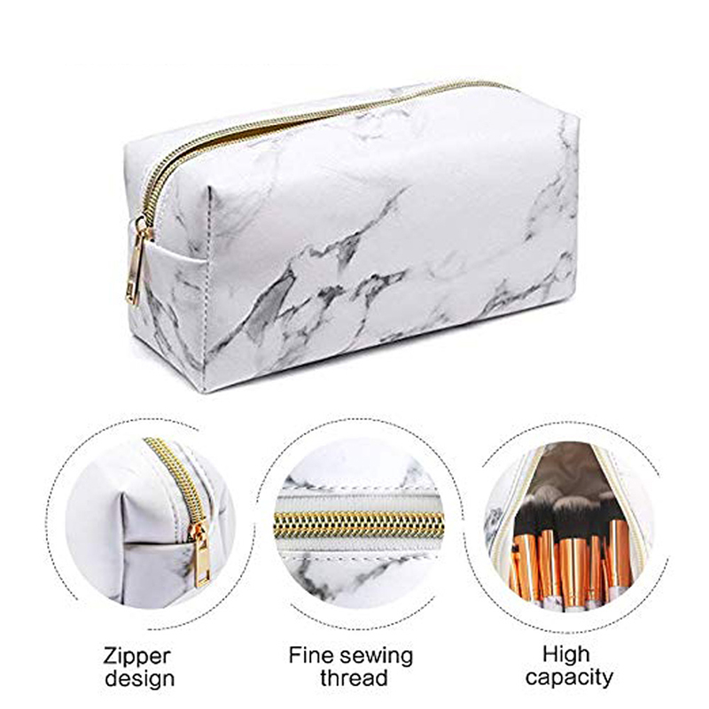 New 2019 Fashion Ladies Makeup Cosmetic Bag Marble Pattern PU Toiletry Pencil Case Leather Storage Brushes Pouch For Travel Bags