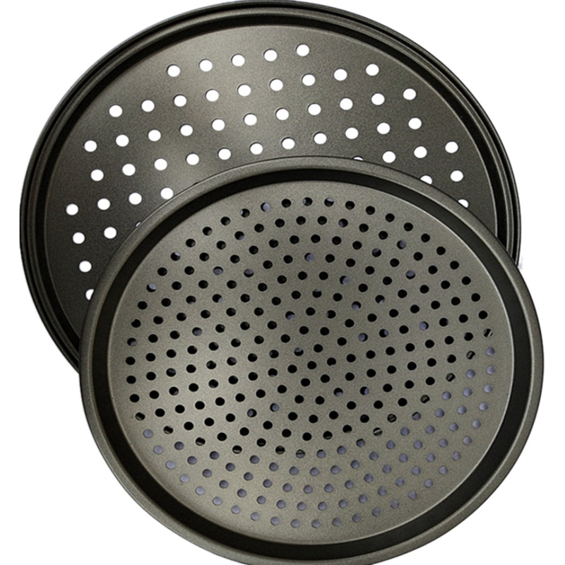 Pizza Pans Carbon Steel Perforated Baking Pan With Nonstick Coating, Round Pizza Crisper Tray Tools Bakeware Set Cooking Acces