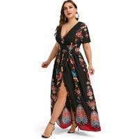 Rosegal Plus Size Printed Maxi Split Dress Short Sleeves Bohemian Beach Style Floor Length Maxi Dress Bodycon Long Party Dress