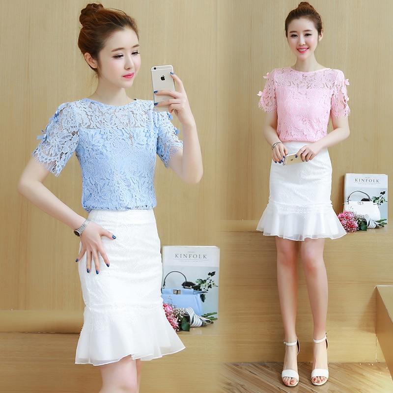 Deux-pièces vêtements setg dentelle à manches courtes blouse & queue de poisson jupe nouveau col rond haut tenue coréenne mode costumes vestidos