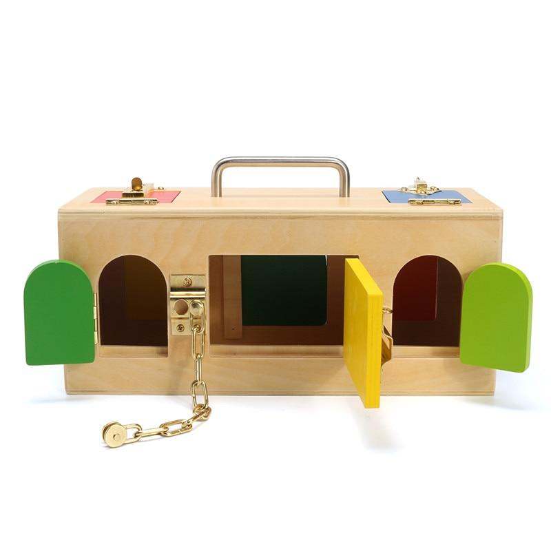 Enfants Montessori jouets 3 ans serrure boîte Montessori matériel sensoriel éducatif en bois jouets pour enfants Montessori bébé jouet nouveau - 3