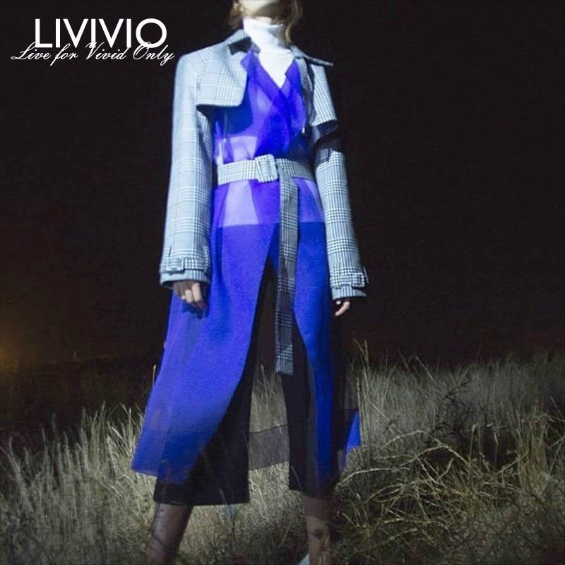 [LIVIVIO] Streetwear Plaid Long Trench Coat for Women Windbreaker Clothes Korean Organza Dusters 2019 Spring Fashion Clothing