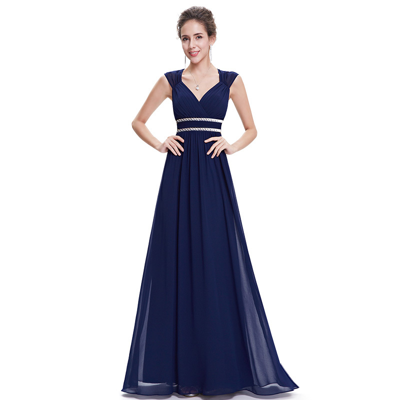 Image 5 - Plus Size Elegant V Neck Long Evening Dress 2019 Cheap Chiffon Party Gowns Ruched Beading Empire Hollow Out Formal Dress-in Evening Dresses from Weddings & Events