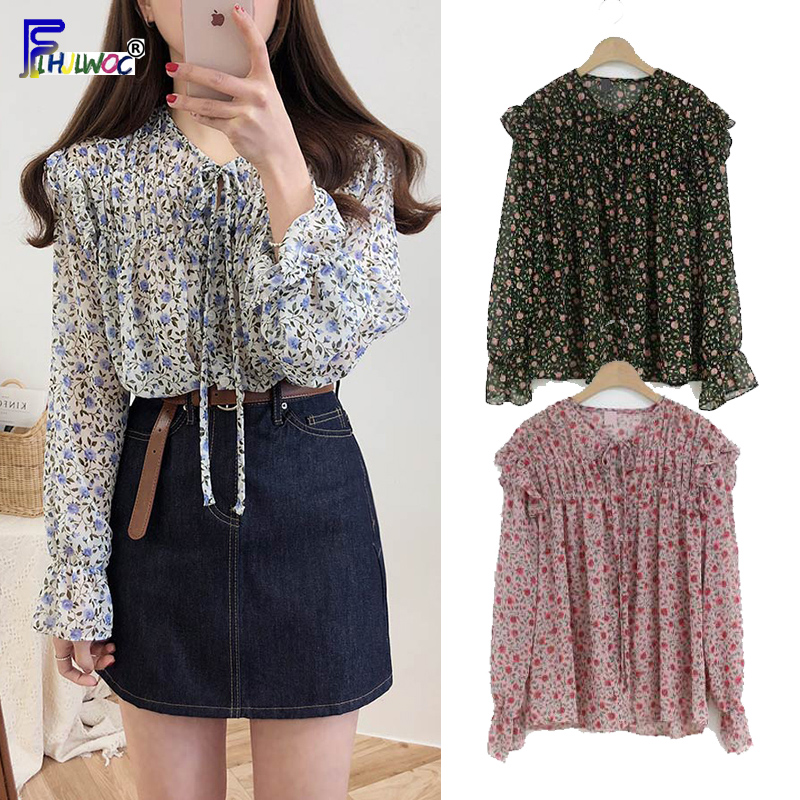 Chiffon   Blouses     Shirts   Women Top Korean Style Clothes Long Sleeve Red Floral Printed Ruffled Top Bow Tie Flower   Blouse   Vintage