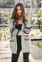 Split Long Sleeve Cardigan Sweater