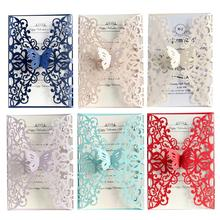 10pcs European Butterfly Laser Hollow Invitations Wedding Holiday Invitation Greeting Card Cover Not Include Inner Pages