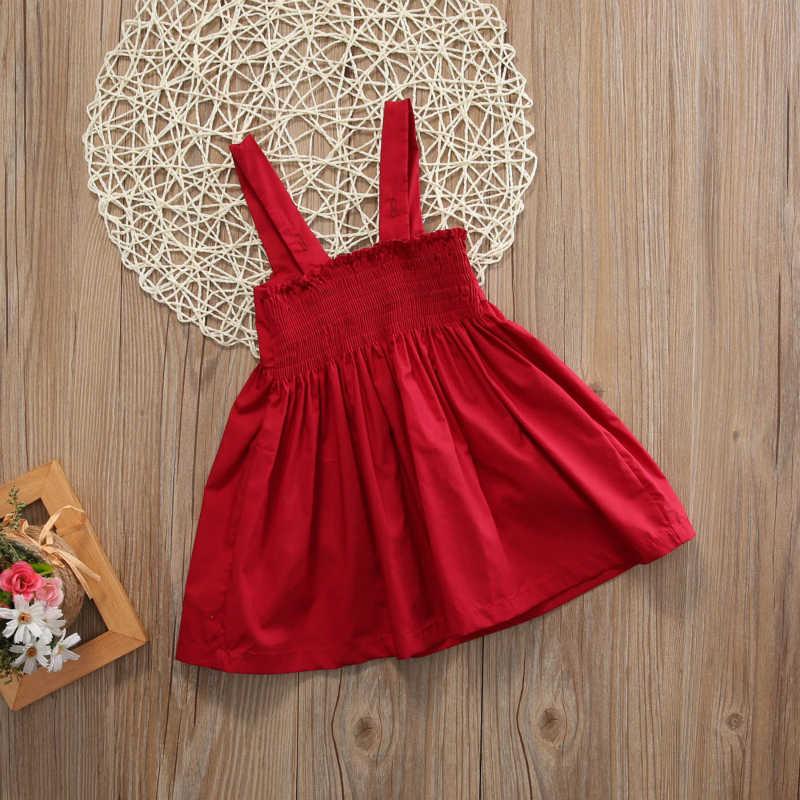 Lớn màu đỏ Bow Bé Cô Gái Ăn Mặc Trẻ Bé Mùa Hè Sundress Không Tay Ngắn Mini Đầu Tiên Sinh Nhật Cô Gái Bên Công Chúa Bé Ăn Mặc 0-3Y