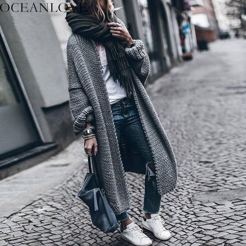 OCEANLOVE sólido grueso Batwing manga cárdigan 2019 otoño invierno largo mujeres suéter suelto moda tejido Chaqueta Mujer 10181-in Caquetas de punto from Ropa de mujer    1