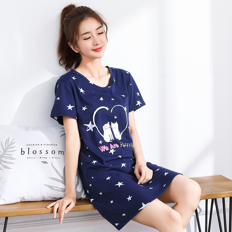 2019 Summer Cotton   Nightgown   Women Sweet Girl Lounge Cute Nightdress Sleepwear Home Dress Casual Nightwear   Sleepshirts   3XL