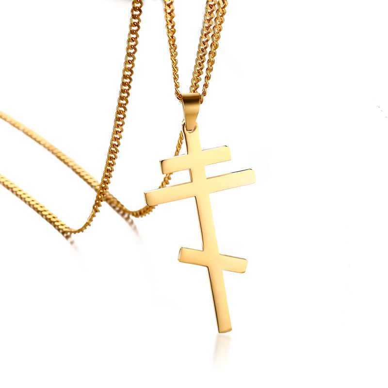 "Mens Plain Russian Orthodox Cross Necklace for Women Stainless Steel Christian Crucifix Male Gift Jewelry Free 24"" Chain"