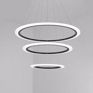 Image 5 - 現代のledシャンデリアダイニングリビングルーム指輪高級光沢時間白黒サスペンションランプとリモコン