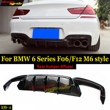 F06 F12 Diffuser Lip M6 Style Carbon fiber For BMW F06 F12 F13 M-Sport Rear Bumper Diffuser Lip 640i 640i xDrive 650i 2012-2016 5 series carbon fiber rear bumper lip spoiler diffuser for bmw f10 m sport sedan 2012 2016 d style grey frp dual exhaust two out