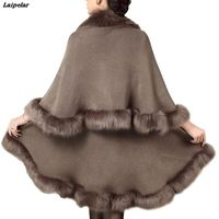 Laipelar Winter Warm Women Fashion Scarves Faux Fox Fur Scarf Brown Shawls And Capes Ladies Commuting Solid Poncho Laipelar