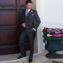 Vintage Italian Tailcoat Grey Mens Wedding Suits Groomsmen Suit 3Piece Slim Fit Best Man Blazers Jacket Groom Tuxedos Costume