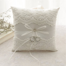 Cushion Embroidered Flowers Ring Pillow European Decor Bow Wedding Romantic