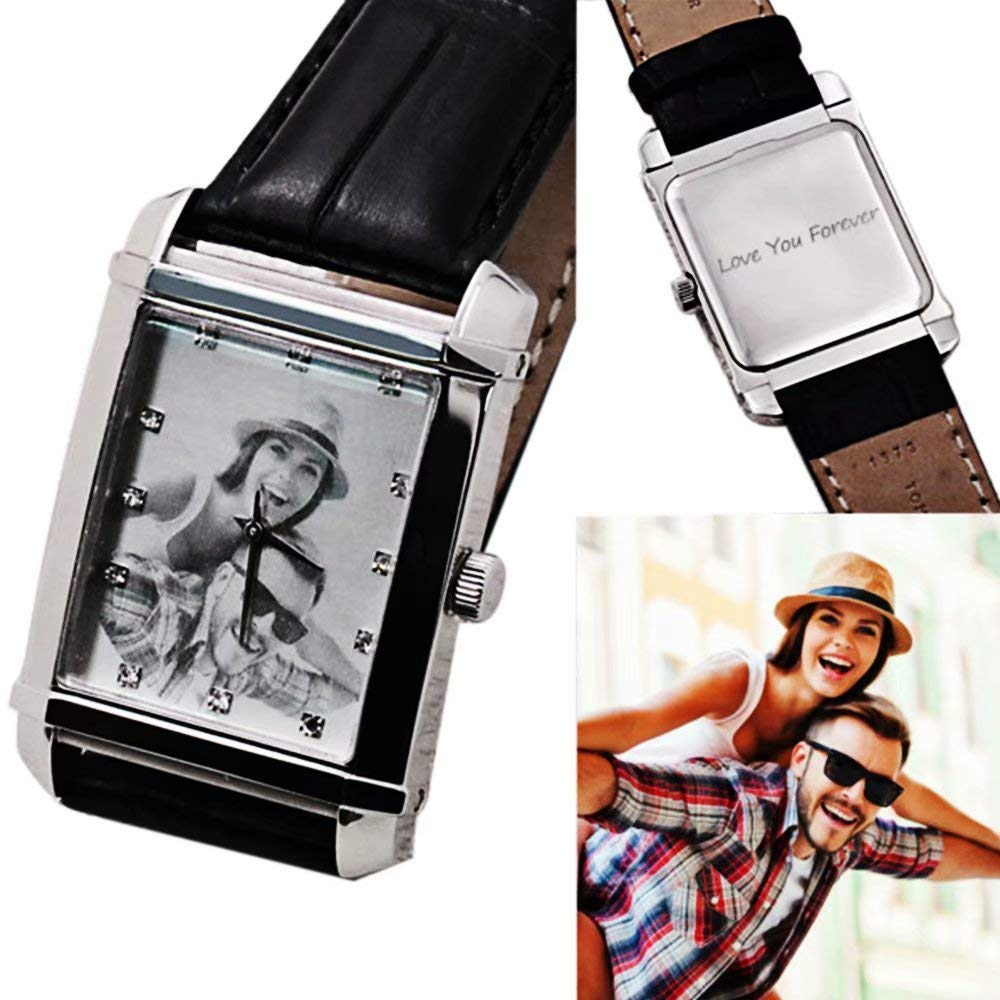 Amxiu Customized Square Picture Quartz Wrist Watch Engrave Words Watches Waterproof Personalized Photo Watch for Women