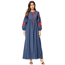 цена на Women Denim Long Dress Vintage Ethnic Flower Embroidery Tassel Drawstring Lace Design High Waist Loose A Line Dress Muslim Aba