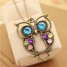 2018 Owl Long Sweater Necklace Women Gold Pendant Sweater Chain Necklaces Personalized Color Rhinestone Necklace Women Jewelry(China)